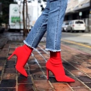 NWT! Red Pointed Stretchy Sock Heel Boot Bootie 7